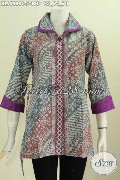 Blus Batik Kera Plisir, Pakaian Batik Istimewa Buatan Solo Kombinasi Kain Embos Motif Klasik Proses Cap Cocok Buat Wanita Karir [BLS6688C-S]