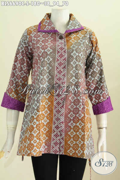 Blus Batik Istimewa Buatan Solo, Pakaian Batik Masa KiniModel Kerah Plesir Motif Terkini Proses Cap Harga 180K [BLS6690C-S]