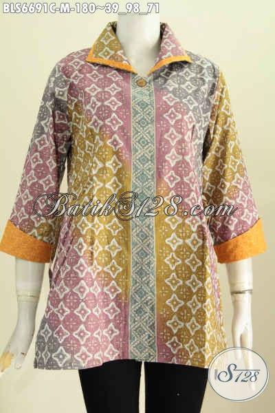 Jual Baju Batik Solo Terkini, Pakaian Batik Bertali Bahan Embos Motif Elegan Proses Cap Harga 180K [BLS6691C-M]