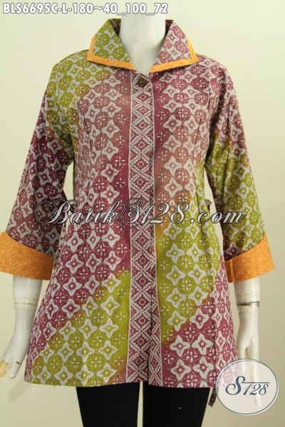 Jual Baju Batik Modern Bahan Kain Embos, Blus Batik Berkelas Kerah Plesir Model Bertali Motif Elegan Proses Cap Harga 180K, Size L