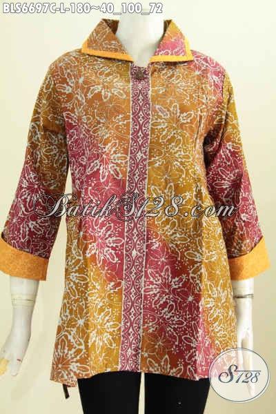 Koleksi Terkini Busana Blus Kerah Plesir, Baju Batik Wanita Terkini Model Bertali Motif Berkelas Proses Cap Di Jual Online 180K [BLS6697C-L]