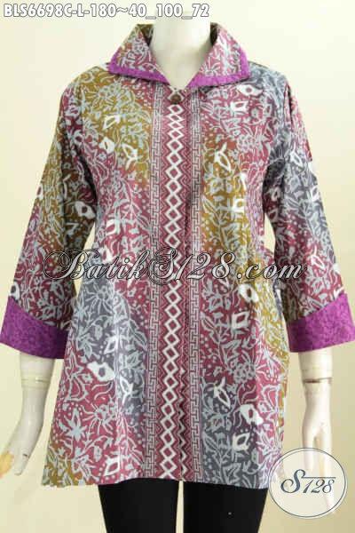 Batik Blus Modern, Pakaian Batik Istimewa Bahan Halus Kain Embos Model Bertali, Pakaian Batik Kerah Plesir Untuk Tampil Cantik Maksimal [BLS6698C-L]