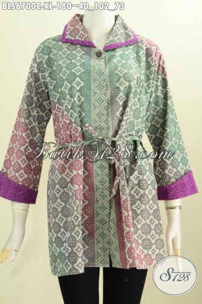 Pakaian Batik Wanita Dewasa Model Bertali, Blus Batik Kerah Plesir Motif Klasik Proses Cap Tampil Makin Elegan [BLS6700C-XL]