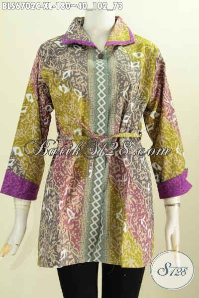 Bati Blus Solo Model Bertali Pakaian Batik Bahan Embos Kerah Plesir