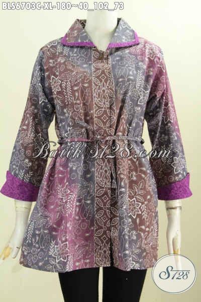 Produk Terkini Busana Batik Wanita Kwalitas Bagus Model Bertali, Baju Batik Kerah Plesir Untuk Santai Dan Resmi Oke Banget [BLS6703C-XL]
