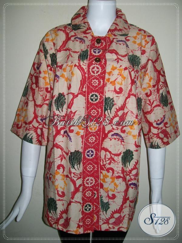 Baju BAtik Wanita Batik Handmade Warna Merah Lasem [BLS670CB-M]