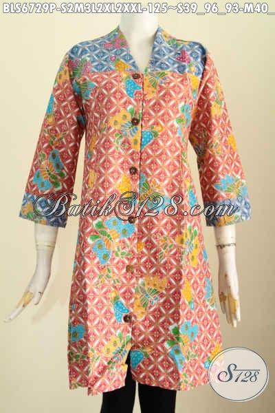 Baju Blus Batik Trendy Dengan Kombinasi 2 Motif, Pakaian Batik Kerja Wanita Muda Tampil Gaya, Cocok Juga Untuk Jalan-Jalan, Size S – M – L – XL – XXL