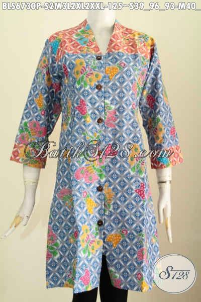 Baju Atasan Wanita Bahan Batik Modis Keren Kwalitas Halus Motif Terkini Proses Printing Dengan Kombinasi 2 Warna Untuk Tampil Bergaya [BLS6730P-S , M]