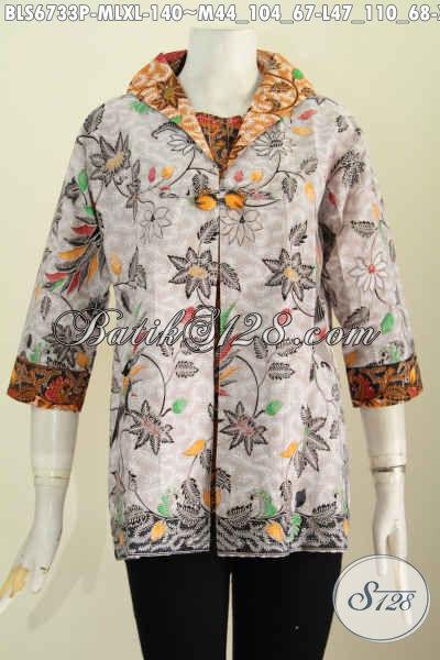 Toko Online Batik Jual Baju Atasa Wanita Kerja, Blus Batik Halus Model Jas Motif Mewah Proses Printing Hanya 100 Ribuan [BLS6733P-L]