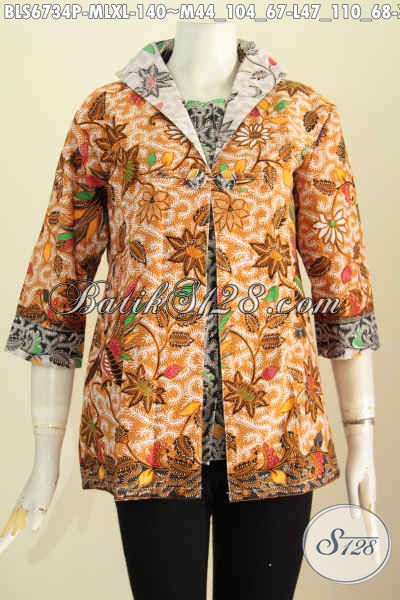 Pusat Baju Batik Online, Sedia Baju Batik Atasan Modern Desain Jas Untuk Penampilan Makin Istimewa Berbahan Adem Asli Dari Solo [BLS6734P-M , L , XL]