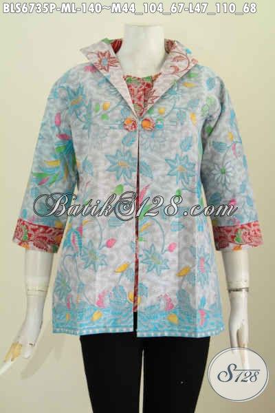 Jual Baju Atasan Batik Wanita Terbaru, Pakaian Batik Model Jas Cocok Untuk Kerja Dan Acara Resmi Bahan Adem Motif Terkini [BLS6735P-M]