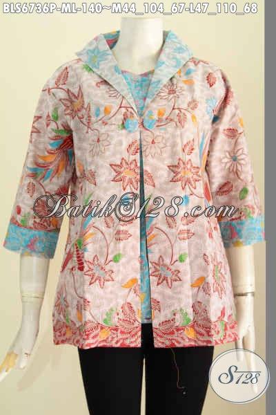 Baju Blus Model Jas, Pakaian Batik Cewek Nan Modis Bahan Halus Motif Keren Kwalitas Istimewa Motif Printing Harga 140K [BLS6736P-M]