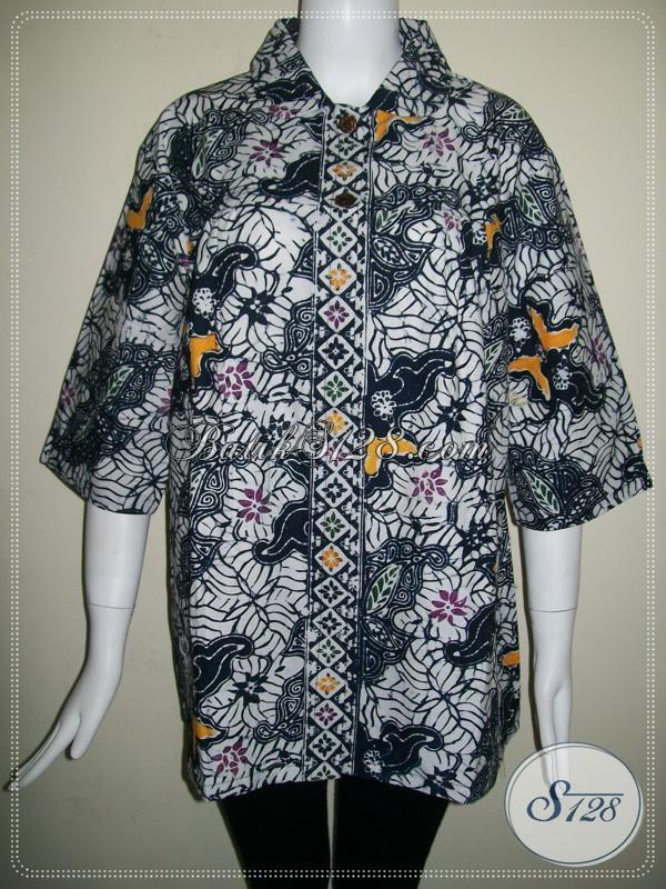 Warna BAtik Hitam Elegan Untuk Blus Batik Wanita Lengan Tiga Perempat [BLS673CB]