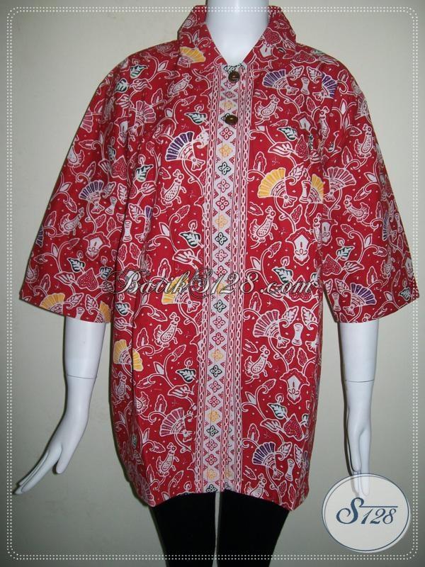 Blus Batik Wanita Pegawai Bank [BLS674C-XL]