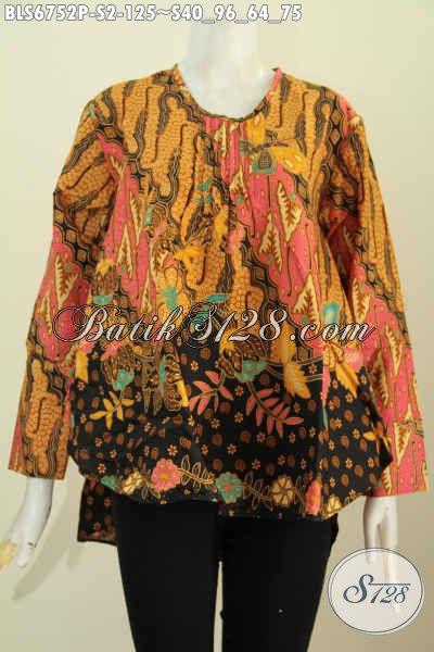 Pakaian Batik Atasan Wanita Model Panjang Belakang, Blus Batik Wanita Muda Untuk Terlihat Gaya Dan Keren [BLS6752P-S]