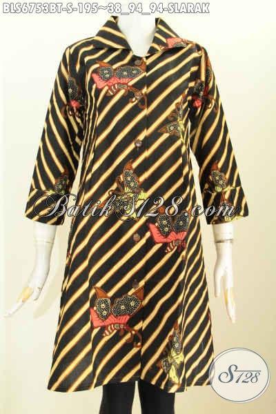 Batik Blus Bahan Katun Halus, Pakaian Batik Wanita Motif Slarak Proses Kombinasi Tulis, Pas Banget Untuk Pesta Dan Hangout, Size S