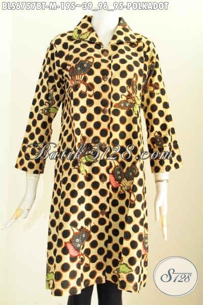 Batik Blus Elegan Motif Polkadhot, Pakaian Batik Wanita Masa Kini Desain Mewah Bahan Halus Proses Kombinasi Tulis Harga 195K, Size M