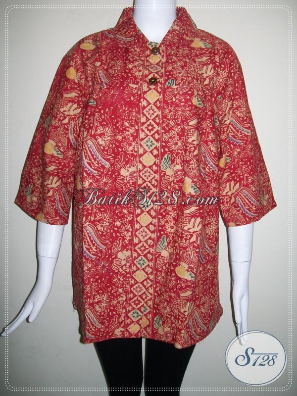 BAtik Online Wanita Harga Murah,Blus BAtik Warna Merah Elegan [BLS675CT]