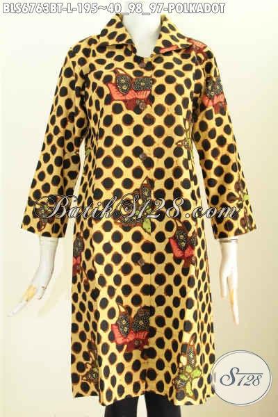 Baju Batik Cewek Modis, Blus Batik Solo Desain Terusan Motif Polkadot Proses Kombinasi Tulis Bahan Halus Untuk Tampil Istimewa [BLS6763BT-L]