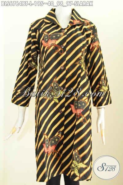 Baju Batik Kerja Wanita Kantoran Terkini, Blus Batik Modis Model Terusan Motif Slarak Bahan Adem Nyaman Di Pakai Proses Kombiansi Tulis, Size L