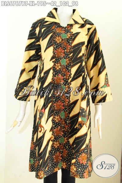 Baju Blus Wanita Dewasa Motif Terbaru Yang Lebih Modis Dan Berkelas, Pakaian Batik Modern Kombinasi Tulis, Cocok Untuk Kerja Dan Acara Lainnya, Size XL
