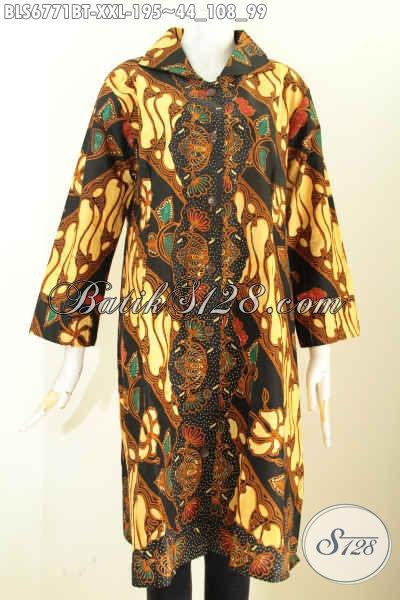 Model Baju Batik Wanita Gemuk, Busana Batik Klasik Elegan Dan Mewah Proses Kombinasi Tulis Penampilan Lebih ELegan [BLS6771BT-XXL]