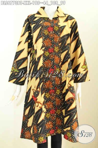 Jual Model Baju Batik Wanita Ukuran Jumbo, Blus Batik Istimewa Bahan Halus Motif Berkelas Kombinasi Tulis 195 Ribu [BLS6773BT-XXL]