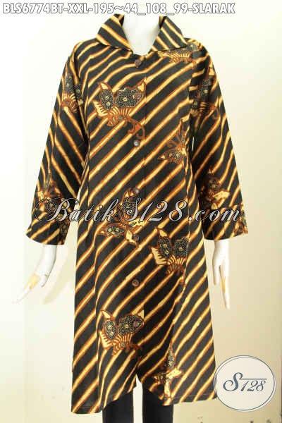 Sedia Model Baju Batik Wanita Big Size, Blus Batik 3L Desain Mewah Wanita Gemuk Tampil Lebih Percaya Diri [BLS6774BT-XXL]