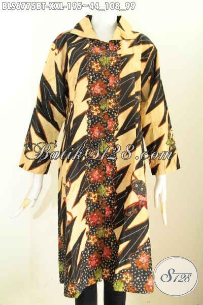 Koleksi Terkini Model Baju Batik Kombinasi Untuk Wanita Gemuk, Blus Batik Istimewa Cocok Buat Kerja Dan Santai Ukuran 3L [BLS6775BT-XXL]