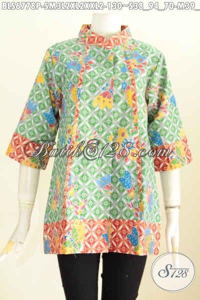 Pakaian Batik Wanita Terkini Desain Plisir Depan Berpadu 2 Warna Untuk TampilTrendy Dan Gaya, Size S – M – L – XL – XXL