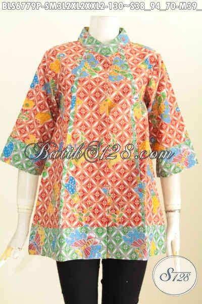 Blus Batik 2 Warna Plisir Depan, Baju Batik Kerja Wanita Solo Kwalitas Bagus Proses Printing Harga 130K [BLS6779P-XL , XXL]