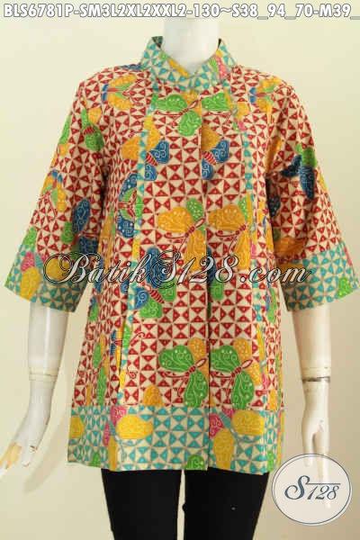 Blus Batik Solo Dual Warna Dengan Plisir Depan Untuk Wanita Gemuk, Bahan Halus Motif Trendy Proses Printing Hanya 130K, Size XXL