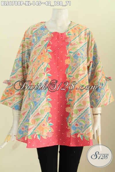 Aneka Baju Batik Modern Dan Keren, Baju Batik Seragam Wanita Karir Ke Kantor Tampil Gaya Dan Cantik Mempesona [BLS6788P-XL]