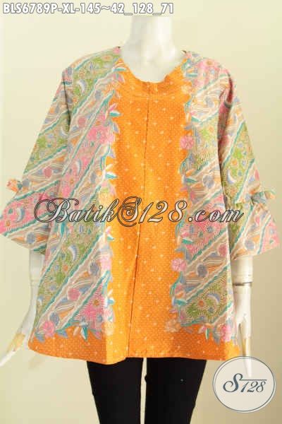 Baju Batik Wanita Dewasa, Baju Blus Simetris Cutting A Pake Pita Di Lengan, Baju Batik Terbaru Untuk Wanita Harga 145K [BLS6789P-XL]