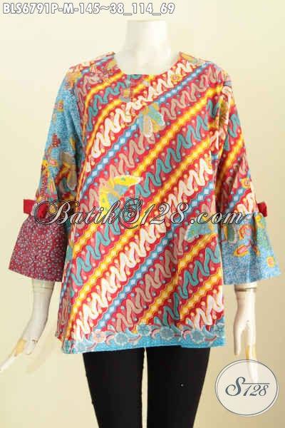 Busana Batik Jawa Tengah Untuk Cewek, Blus Baju Batik Wanita 2017 Yang Membuta Penampilan Lebih Trendy Dan Gaul Dengan Motif Terbaru Proses Printing [BLS6791P-M]