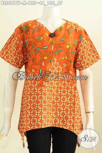 Baju Batik Wanita Kantor Elegan Bahan Adem Model Terkini Pakai Resleting Belakang Untuk Tampil Makin Modis [BLS6817P-S, L, XL]