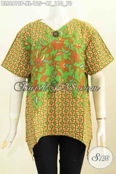 Batik Blus Wanita Dewasa, Pakaian Batik Keren Modern Bahan Adem Proses Printing Pakai Resleting Belakang Lebih Nyaman Di Pakai, Size XL
