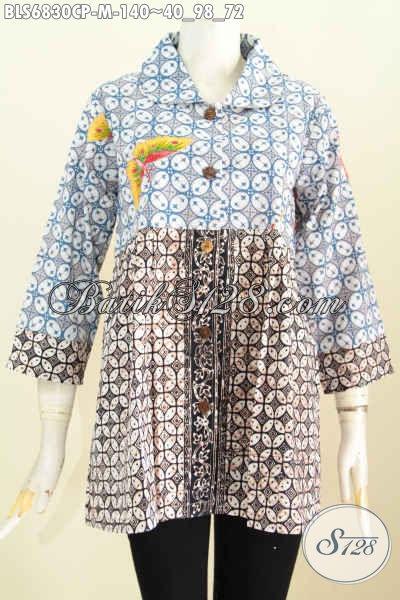 Koleksi Terbaru Blus Batik Kerah Bulat Dua Warna, Baju Batik Wanita Modern Motif Bagus Proses Cap Printig Harga 140K [BLS6830CP-M]