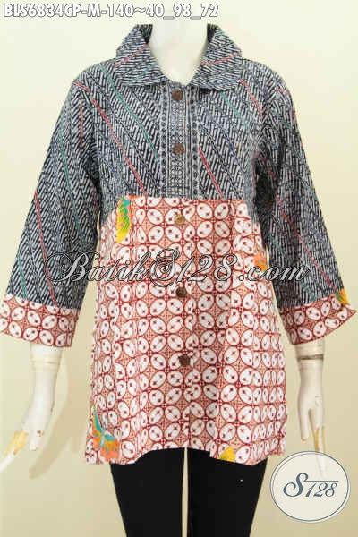 Baju Batik Wanita Sederhana, Blus Batik Halus 2 Warna Model Kerah Bulat Motif Trendy Cap Printing Harga 140K [BLS6834CP-M]