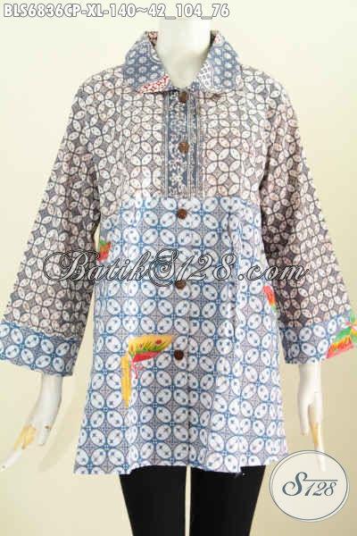 Baju Batik Wanita Simple, Blus Batik Modis 2 Warna Kerah Bulat Buatan Solo Asli Motif Proses Printing Harga Murmer [BLS6836CP-XL]