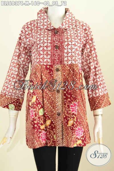 Update Koleksi Paaian Batik Terkini Dengan Blus Kerah Bulat 2 Warna Buatan Solo Untuk Penampilan Lebih Cantik Dan Kekinian [BLS6837C-M]
