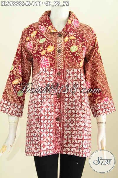 Baju Batik Wanita Solo, Blus Batik Terbaru Dengan Kerah Bulat Dan Kombinasi 2 Warna Lebih Trendy Dan Modis Harga 160K Proses Cap [BLS6838C-M]