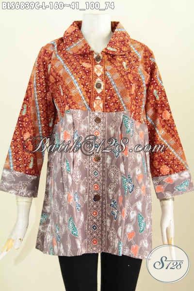 Baju Batik Blus Dual Motif, Pakaian Batik Kerah Bulat Bahan Halus Proses Cap 2 Warna Harga 160 Ribu, Size L