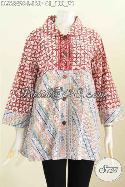 Baju Batik Wanita Tanah Abang Blus Batik Halus 2 Warna Kerah