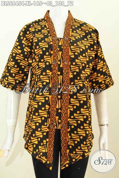 Baju Batik Wanita terbaru Model 2019, Blus Batik Kartini Kutu Baru Elegan Dan Berkelas Untuk Acara Resmi [BLS6845C-XL]