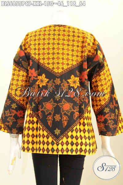 Baju Batik Jumbo, Blus Batik Wanita Pegawai Bank Dan Swasta Untuk Penampilan Lebih Gaya Dan Mempesona Hanya 150K [BLS6855PC-XXL]