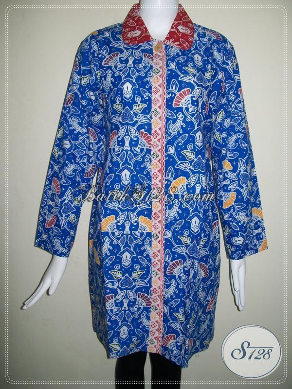 Trend Batik Warna Biru Untuk Busana BAtik Wanita Lengan Panjang [BLS686C]