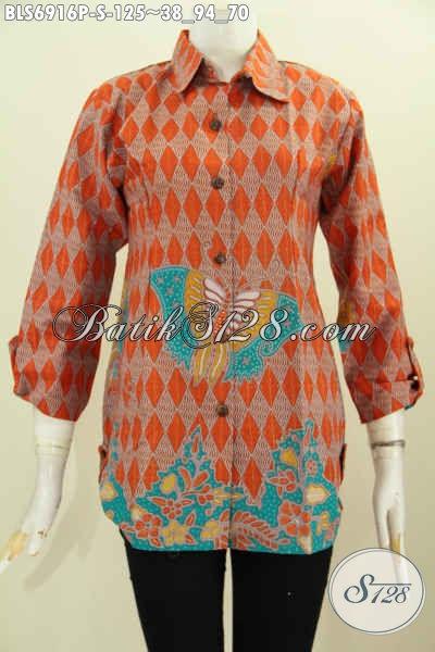 Baju Kemeja Batik Wanita Terbaru, Blus Batik Kerja Perempuan Karir Motif Trendy Proses Printing Desain Keren Tampil Makin Berkelas [BLS6916P-S]