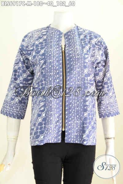 Design Baju Batik Wanita Terbaru, Pakaian Batik Modis Dengan Resleting Depan Di Lengkapi Kantong Paspol Kanan Kiri, Berbahan Halus Motif Proses Cap Hanga 180K [BLS6917C-M]