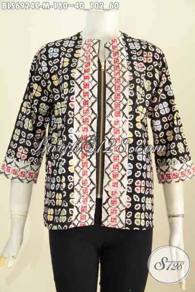 Foto Baju Batik Wanita 2018, Blus Batik Kerja Perempuan Kantoran Model Terkini Resleting Depan Plus Kantong Paspol Kanan Kiri Motif Keren Proses Cap Harga 180 Ribu [BLS6924C-M]